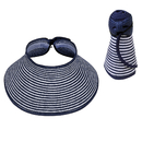 Opromo Women's Foldable Roll Up Striped Ribbed Wide Brim Straw Hat Sun Visor
