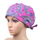 Opromo Flower Series Scrub Cap Womens Adjustable Tie Back Ponytail Hat Chemo Cap
