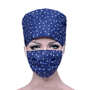 Opromo Unisex Adjustable Scrub Hat for Ponytail and Free Reusable Cotton Mask
