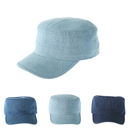 Opromo Cadet Hat Wash Cotton Denim Military Hat Unisex Adjustable Corps Army Cap