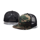 Opromo 6 Panel Flat Bill Mesh Trucker Hat Plain Adjustable Snapback Baseball Cap