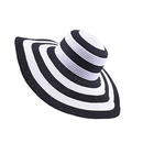Opromo Women's Beach Sun Hat Foldable Roll Up Floppy Big Brim Striped Straw Hat