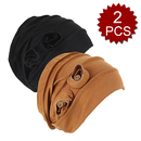Opromo 2 Pack Head Scarf Chemo Hat Beanie Turban Headwear for Cancer Patients