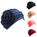Opromo Women's Strench Side Flower Pleated Muslim Turban Chemo Hat Cancer Cap