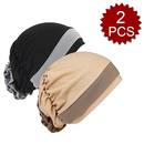 Opromo 2 Pack Women Stretch Chemo Hat Beanie Muslim Turban Headwear Hijib Cap