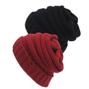 Opromo 2 Pack Warm Chunky Soft Stretch Cable Knit Slouchy Beanie Skully Hat Cap