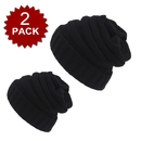 Opromo Winter Warm Chunky Stretch Cable Knit Beanie Skully Matching Set, 2 Pack