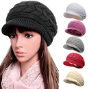 Opromo Winter Hats for Women Girls Warm Wool Knit Snow Ski Skull Cap with Visor