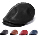 Opromo Mens Vintage PU Leather Newsboy Cap Flat Cap for Outdoor Walking Driving