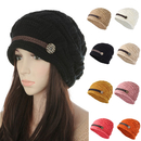 Opromo Women's Winter Knit Beanie Cap Warm Earmuffs Slouchy Hat Button Strap Cap