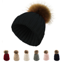 Opromo Womens Winter Knit Beanie Detachable Faux Raccoon Fur Pom Pom Bobble Hat