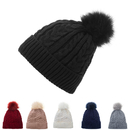 Opromo Women's Thick Warm Cable Knitted Fleece Lined Pom Pom Beanie Hat Ski Cap