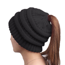 TOPTIE Mom & Girl Ponytail Messy Bun Beanie Chunky Stretch Cable Knit Ribbed Hat