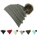 Opromo Womens Winter Warm Chunky Cable Knit Slouchy Faux Fur Pom Pom Beanie Hat