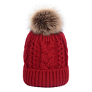 Opromo Womens Girls Winter Fleece Lined Cable Knit Hat Faux Fur Pom Pom Beanie