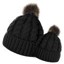 Opromo 2PCS Parent-Child Hat, Mother Baby Daughter/Son Winter Warm Knit Beanie Ski Cap with Pom Pom