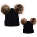 Opromo Parent-Child Hat, Mom & Baby Cable Knit Beanie With Faux Fur Pompom Ears