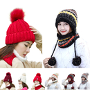 Opromo Fleece Lined Women Knit Beanie Scarf Set Girls Winter Ski Hat with Earflap Pompom