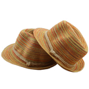 Opromo Summer Parent-Child Rainbow Stripe Straw Hat Girls Foldable Beach Sun Hat