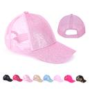 Opromo Kids Ponytail Messy High Bun Ponycap Adjustable Cotton and Mesh Glitter Trucker Baseball Cap Hat