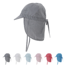 Opromo Kids Toddler Baby Flap Sun Hat UPF 50+ Cotton Summer UV shielding Outdoor Play Cap w/Drawstring