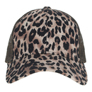 Opromo Ponycap Leopard Print Mesh Trucker Cap Ponytail Messy High Bun Baseball Cap Adjustable Hat