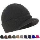 Opromo Winter Warm Soft Stretch Double Knit Beanie Hat with Visor for Men and Women - 10 Colors