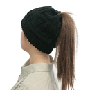 Opromo Winter Warm Ponytail Knit Beanie Hat for Women, Thick and Soft Ski Skull Cap with High Ponytail Slot
