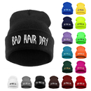 Opromo Winter Soft Warm Bad Hair Day Embroidered Cuffed Knit Beanie Skull Cap for Women