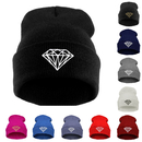 Opromo Winter Thick & Soft Knit Beanie Hats Diamond Pattern Embroidered Cuff Beanie Skull Cap