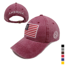 Opromo American USA Flag Embroidered Vintage Washed Cotton Baseball Cap Sports Hat