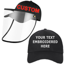 Opromo Personalized Embroidery Custom Protective  Hat Safety Face Shield Visor for Adult Kids,Removable PVC Face Cover