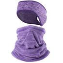 Opromo Fleece Ponytail Headband Neck Gaiter Set for Cold Weather,Ear Warmer Ski Mask Scarf Balaclava for Men Women