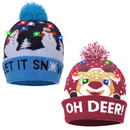 TOPTIE 2 Pack Novelties LED Light-Up New Year Christmas Xmas Knitted Beanie Knit Hat for Adult Kids