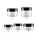 Aspire Clear Plastic Jars with Black Plastic Lids PET Stackable Straight Sided Containers for Bathroom & Kitchen Storage, Slime & Cosmetics
