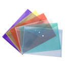 Officeship 24 Pcs Transparent Poly Envelope Folder with Snap Button Closure,A4 Size,6 Assorted Colors