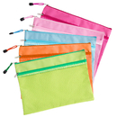 Officeship 6 PCS Mesh Zipper Pouches A4 Size Transparent Document Folders File Bag Pencil Pen Case Travel Bags for Office Student Supplies