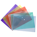 Officeship 12 Pcs Transparent Poly Envelope Folder with Snap Button Closure,A4 Size,6 Assorted Colors