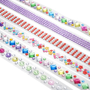 5 Rolls Officeship Self Adhesive Acrylic Rhinestone Lace Tapes for Gift Wrapping Decoration