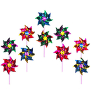 GOGO 100 PCS Assorted Mylar Rainbow Pinwheel, Party Pinwheels DIY Lawn Windmill, Garden Party Pinwheel