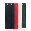 Terry Velour Cotton Hemmed Tri Fold Golf Towel, with Grommet & Hook, 15 3/4