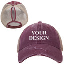 TOPTIE Personalized Custom Distressed Ponytail Hat Mesh Baseball Cap for Women