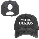 TOPTIE Personalized Custom Vintage Ponytail Baseball Cap for Women, Messy High Bun Ponytail Washed Dad Hat