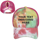 TOPTIE Personalized Text Embroidery Custom Tie Dye Ponytail Baseball Cap for Women Messy High Bun Mesh Ponytail Hat