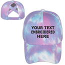 TOPTIE Personalized Text Embroidery Custom Tie Dye Ponytail Baseball Cap for Women Criss Cross Messy Hign Bun Ponytail Hat