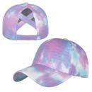 TOPTIE Tie Dye Ponytail Baseball Cap for Women Criss Cross Messy High Bun Dye Ponytail Hat