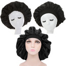 TOPTIE Silky Satin Sleep Bonnet Cap Extra Wide Bonnet Hat Sleeping Head Cover Night Hat for Long Curly Hair