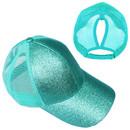 TOPTIE Kids Ponytail Baseball Cap for Girls Glitter Messy High Bun Ponytail Hat