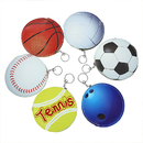 (Pack of 3) Aspire Tennis Bowling Soccer Basketball Volleyball Baseball Shape Keychain, Coin Purses, Zipper Pouch, 5 inches Diameter