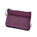 Aspire RFID Blocking Genuine Leather Zipper Pouch Coin Purse Card Case Wallet with Key Ring